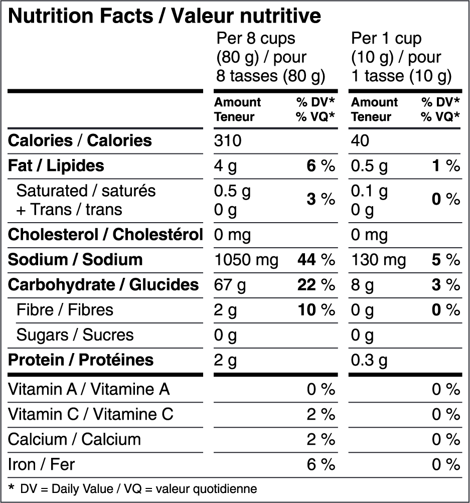 SEL DE MER Nutrition Facts